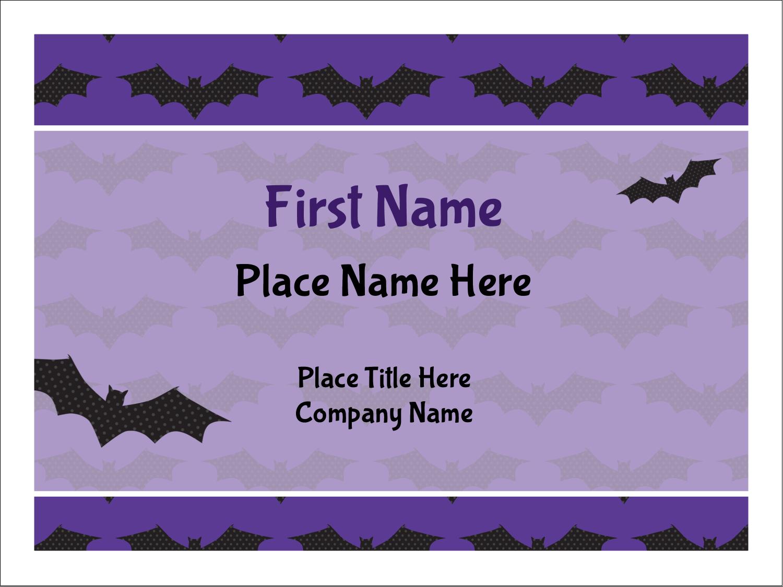 "3"" x 4"" Name Tags - Halloween Bats"