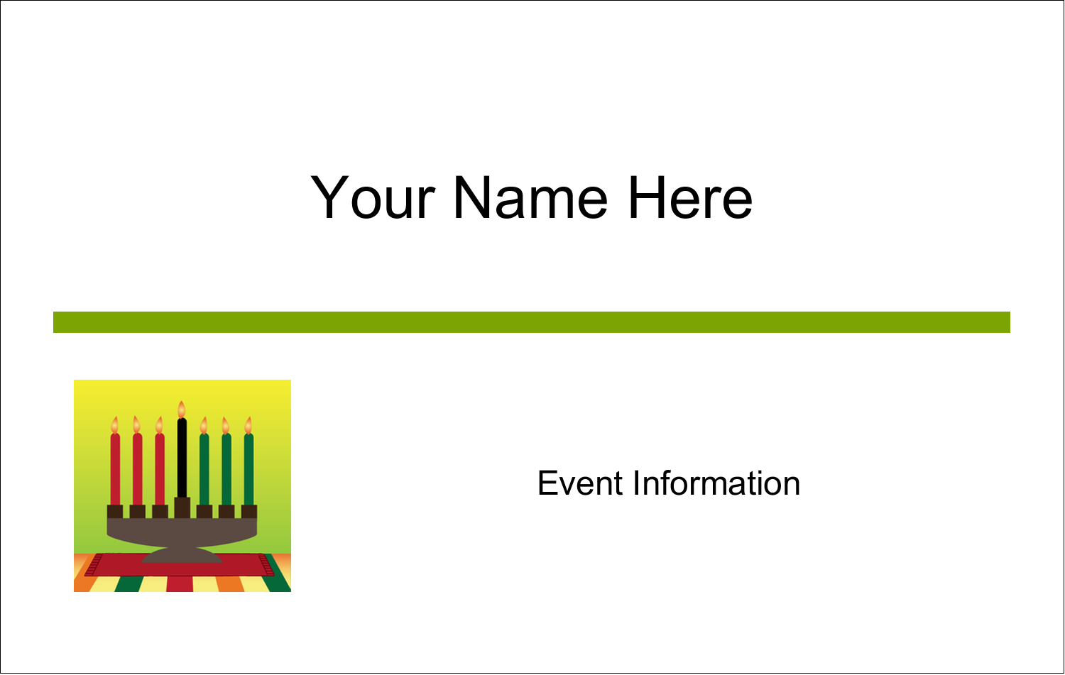 2¼ x 3½ Name Tags - Kwanzaa Green Glow
