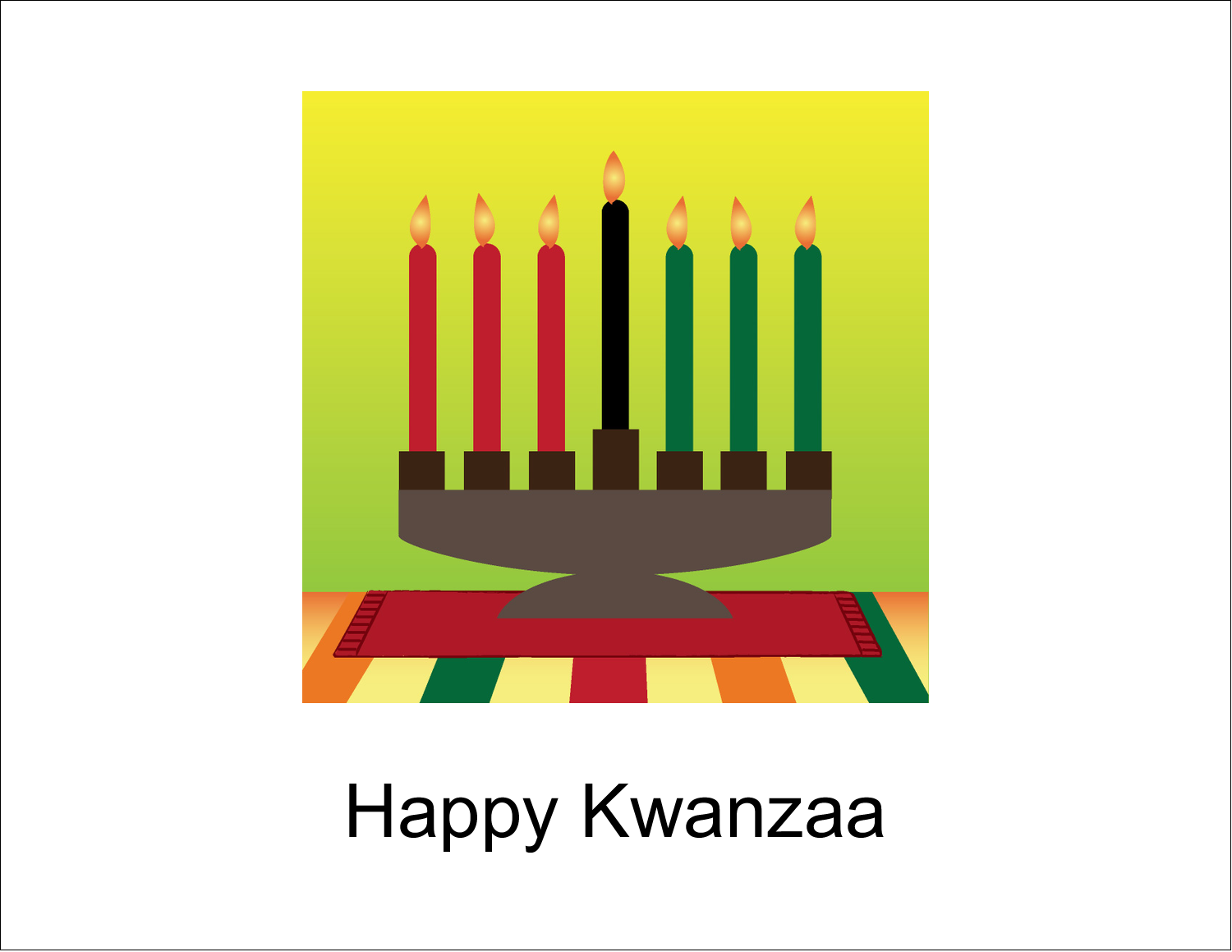 "5½"" x 4¼"" Note Card - Kwanzaa Green Glow"