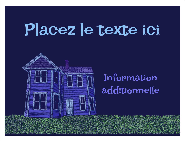 """8½"""" x 11"""" Cartes Et Articles D'Artisanat Imprimables - Maison hantée d'Halloween à la craie"""