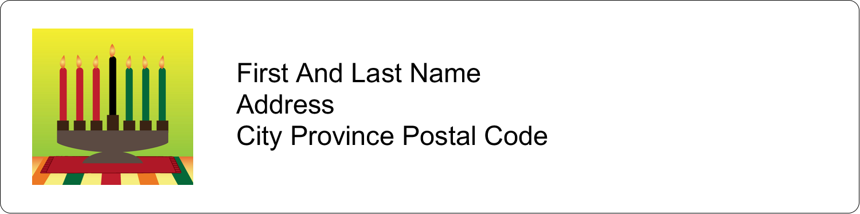 "1"" x 4"" Address Label - Kwanzaa Green Glow"