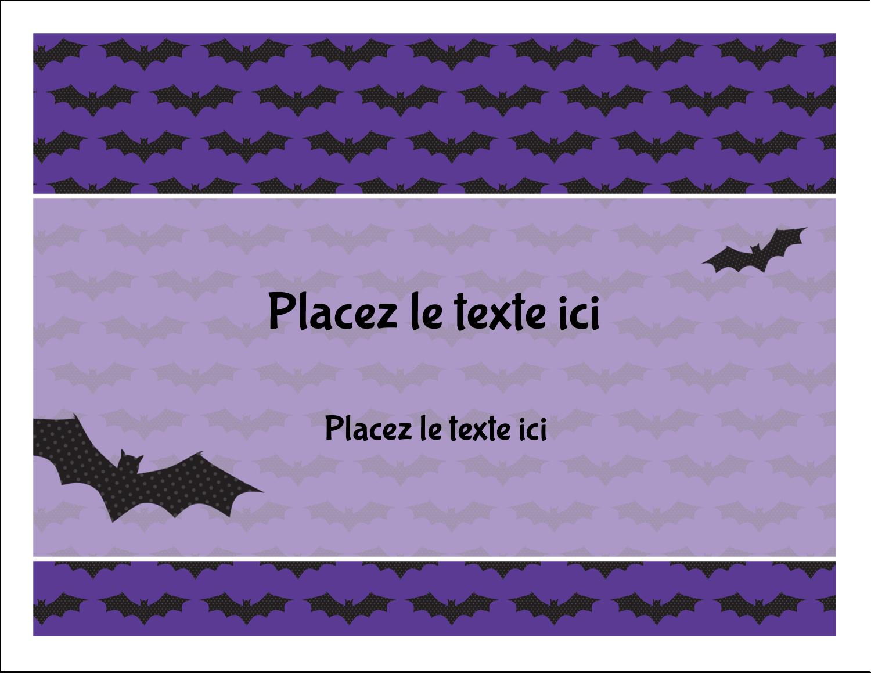"""8½"""" x 11"""" Cartes Et Articles D'Artisanat Imprimables - Chauves-souris d'Halloween"""