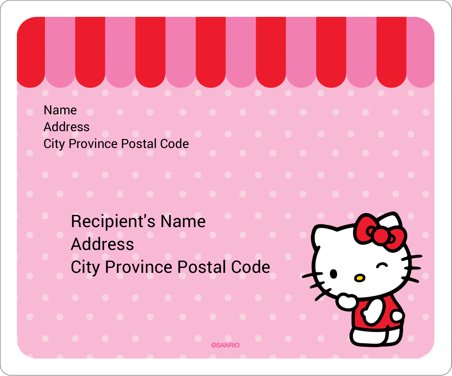 "3⅓"" x 4"" Shipping Label - Sweet Hello Kitty"