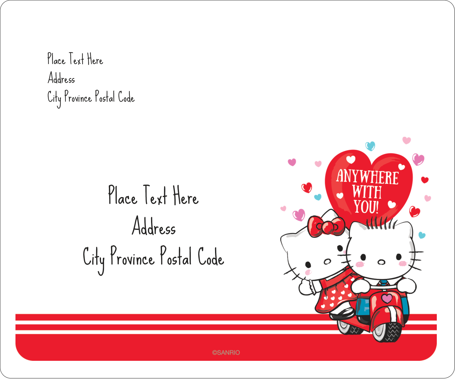 "3⅓"" x 4"" Shipping Label - Hello Kitty & Dear Daniel Valentine"