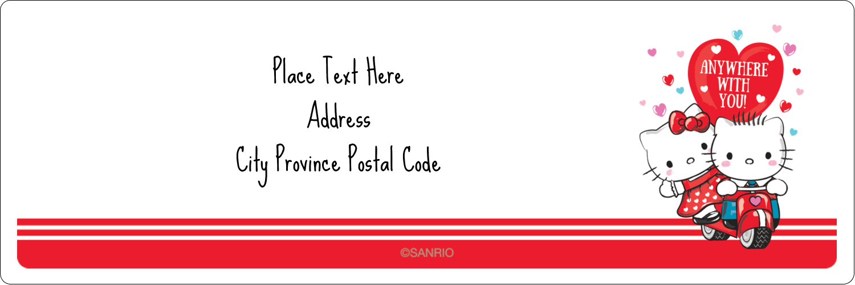 "1⅓"" x 4"" Address Label - Hello Kitty & Dear Daniel Valentine"