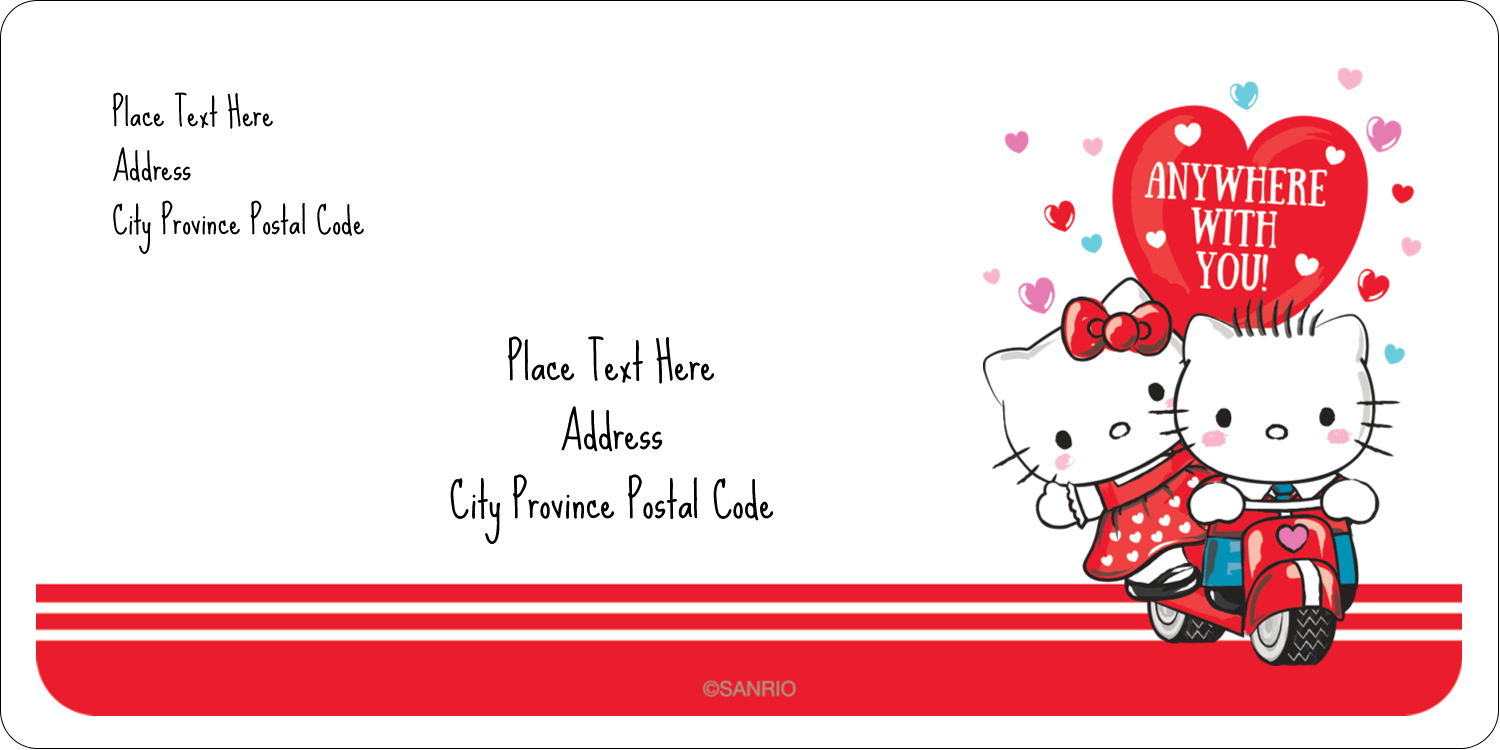 "2"" x 4"" Shipping Label - Hello Kitty & Dear Daniel Valentine"