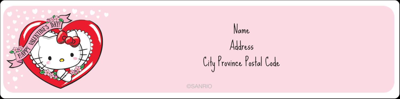 "1"" x 4"" Address Label - Hello Kitty Valentine"