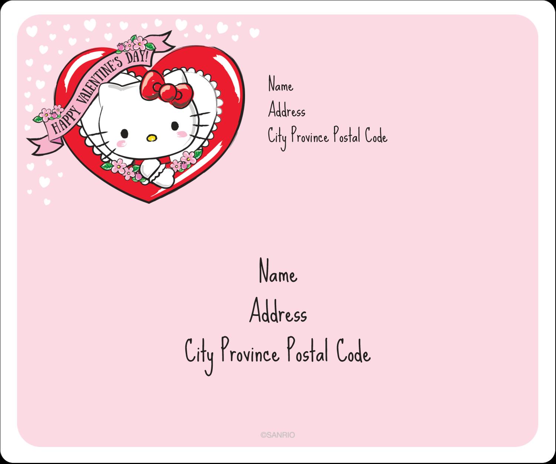 "3⅓"" x 4"" Shipping Label - Hello Kitty Valentine"