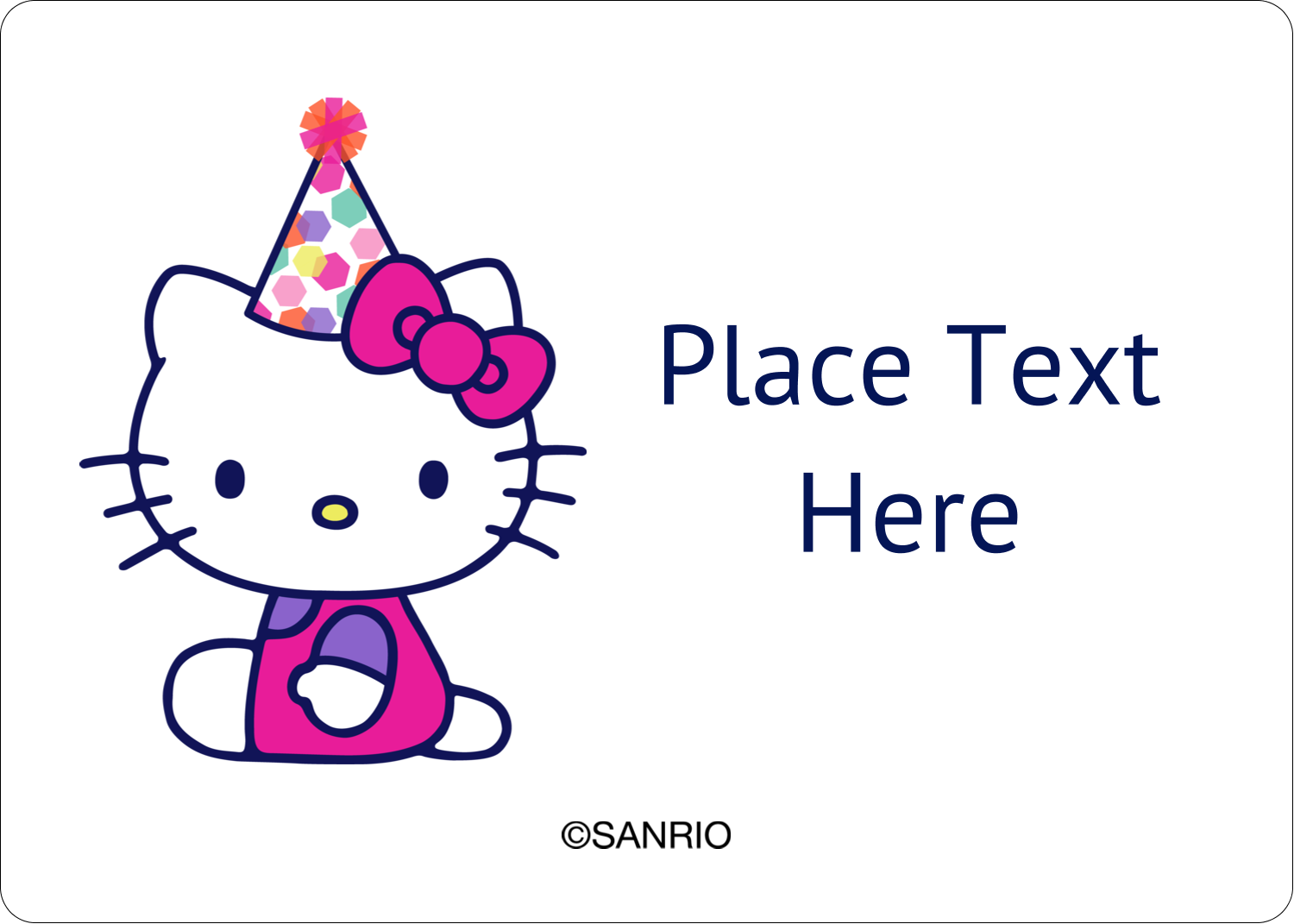 "1¾"" x 1¼"" ID Label - Hello Kitty Birthday"