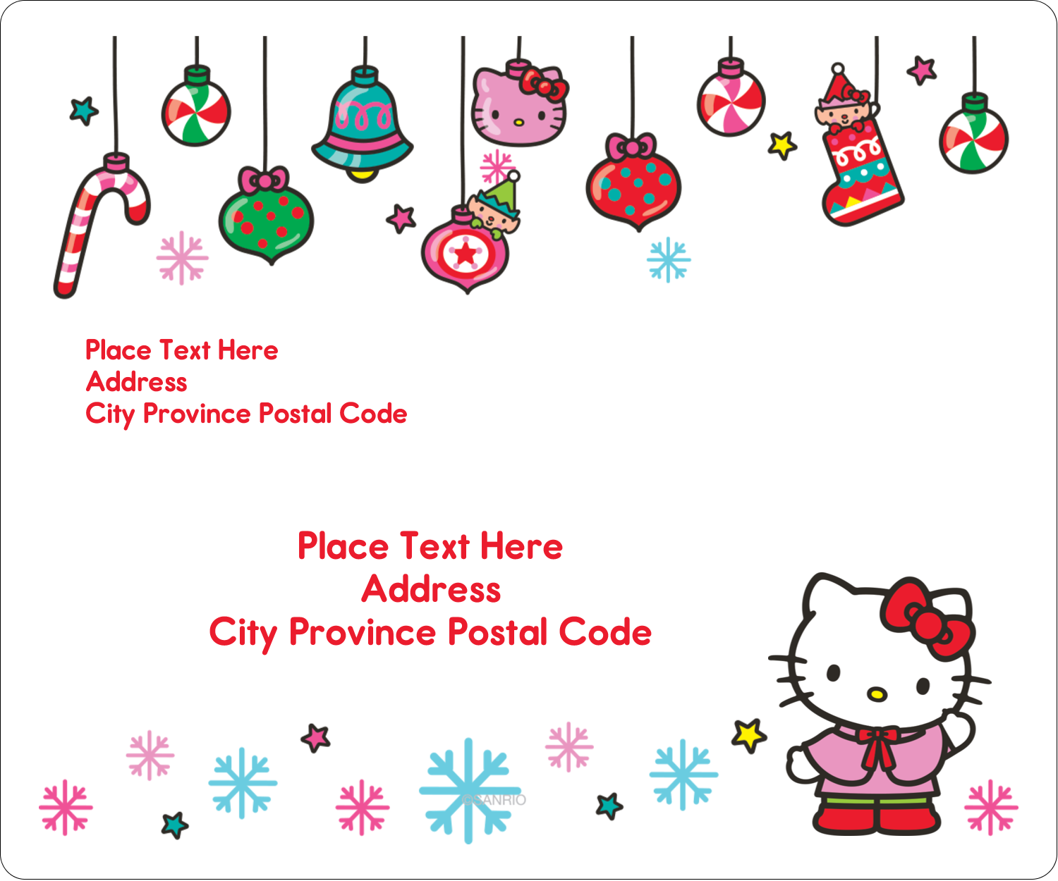 """3⅓"""" x 4"""" Shipping Label - Hello Kitty Holiday"""