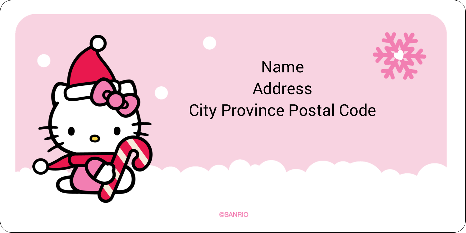 "2"" x 4"" Shipping Label - Hello Kitty Candy Cane Christmas"