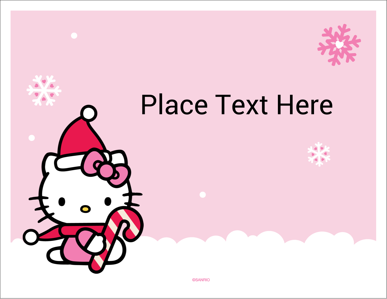 """5½"""" x 4¼"""" Note Card - Hello Kitty Candy Cane Christmas"""