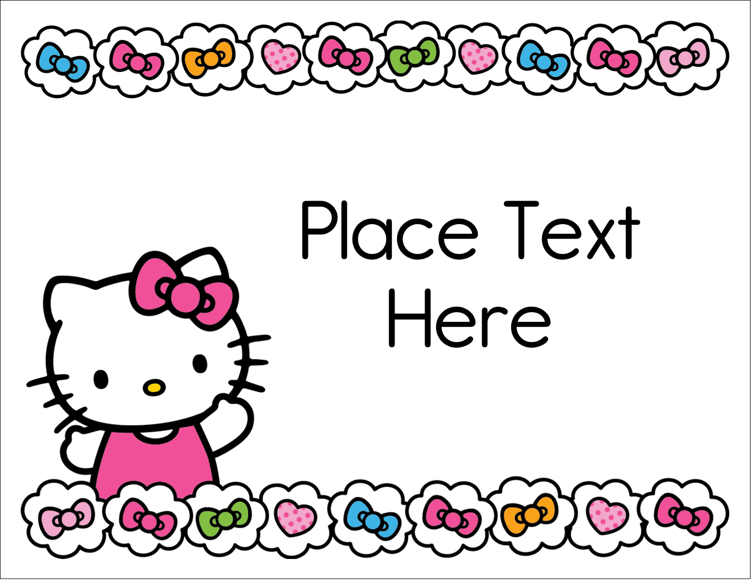 "5½"" x 4¼"" Note Card - Hello Kitty Hearts and Bows"