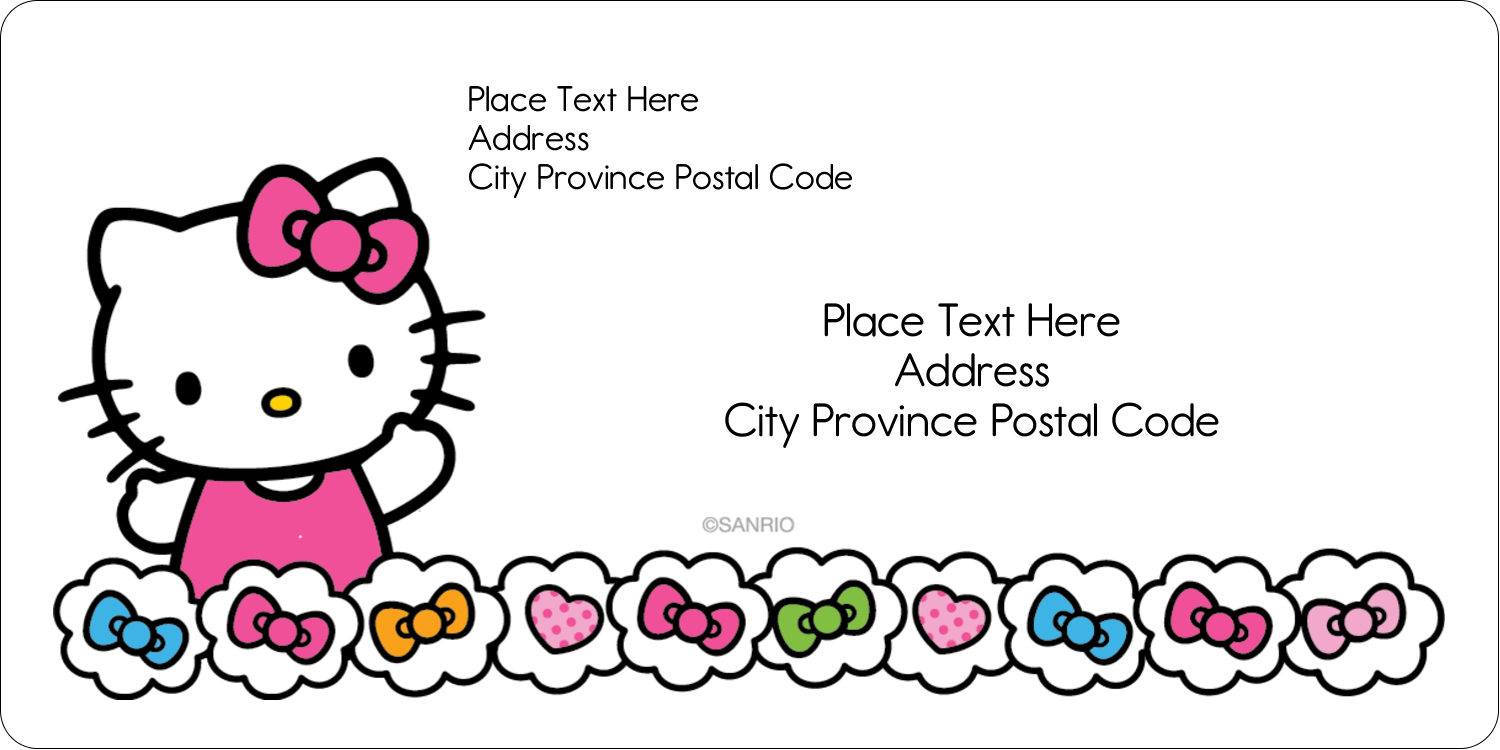 "2"" x 4"" Shipping Label - Hello Kitty Hearts and Bows"