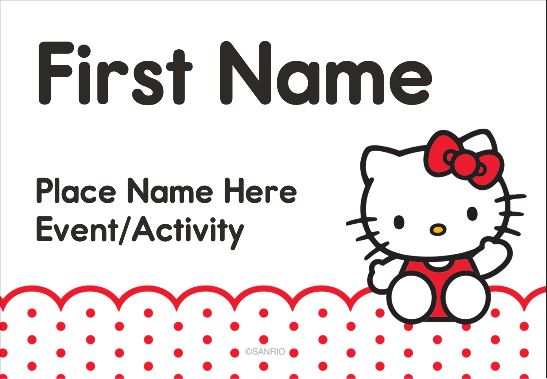 "3⅜"" x 2⅓"" Name Badge - Hello Kitty Waving"