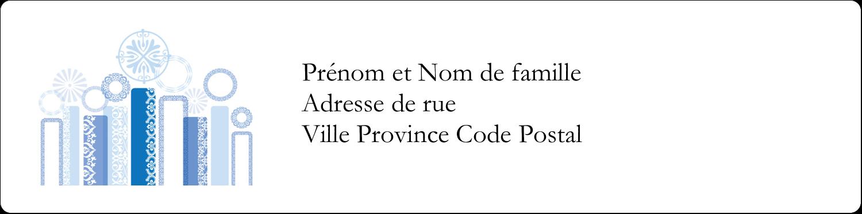 """1⅓"""" x 4"""" Étiquettes d'adresse - Chandelier bleu de Hanoukka"""