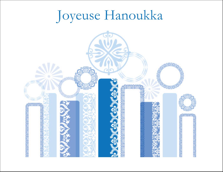 """8½"""" x 11"""" Cartes Et Articles D'Artisanat Imprimables - Chandelier bleu de Hanoukka"""