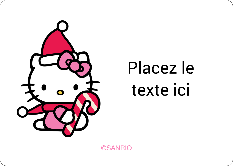 """2⅝"""" x 2"""" Étiquettes D'Identification - Canne en bonbon de Noël Hello Kitty"""