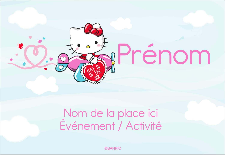 """3⅜"""" x 2⅓"""" Badges - Hello Kitty Saint-Valentin - Mon cœur monte pour vous"""