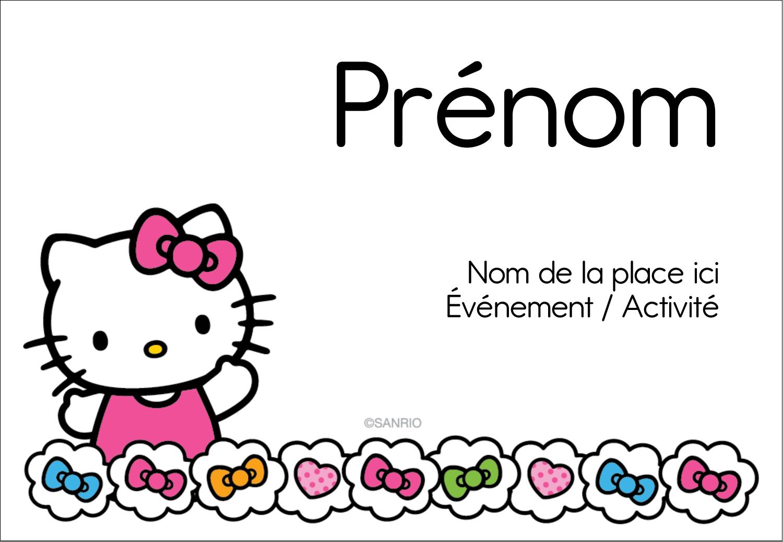 "3⅜"" x 2⅓"" Badges - Hello Kitty Cœurs et Nœuds"