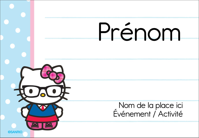 """3⅜"""" x 2⅓"""" Badges - Hello Kitty avec des lunettes"""