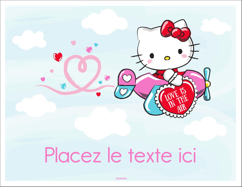 """8½"""" x 11"""" Cartes Et Articles D'Artisanat Imprimables - Hello Kitty Saint-Valentin - Mon cœur monte pour vous"""