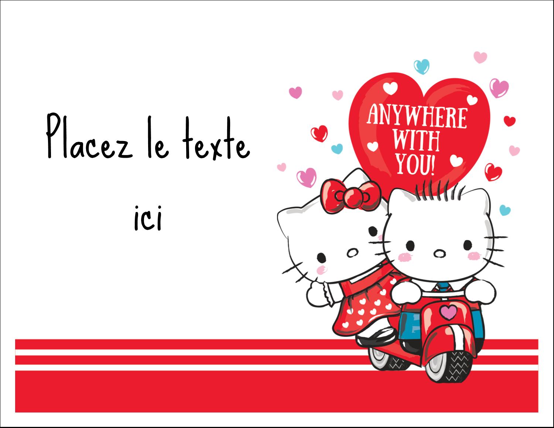 """8½"""" x 11"""" Cartes Et Articles D'Artisanat Imprimables - Hello Kitty et Cher Daniel Valentin"""