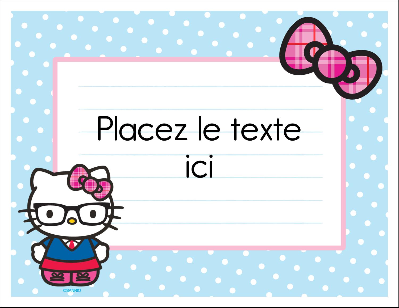 """8½"""" x 11"""" Cartes Et Articles D'Artisanat Imprimables - Hello Kitty avec des lunettes"""