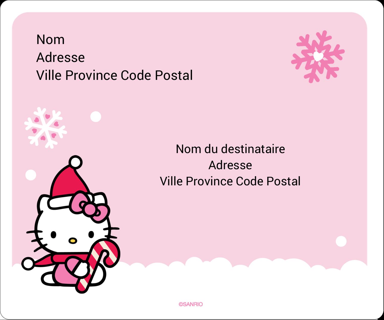 """½"""" x 1¾"""" Étiquettes D'Adresse - Canne en bonbon de Noël Hello Kitty"""