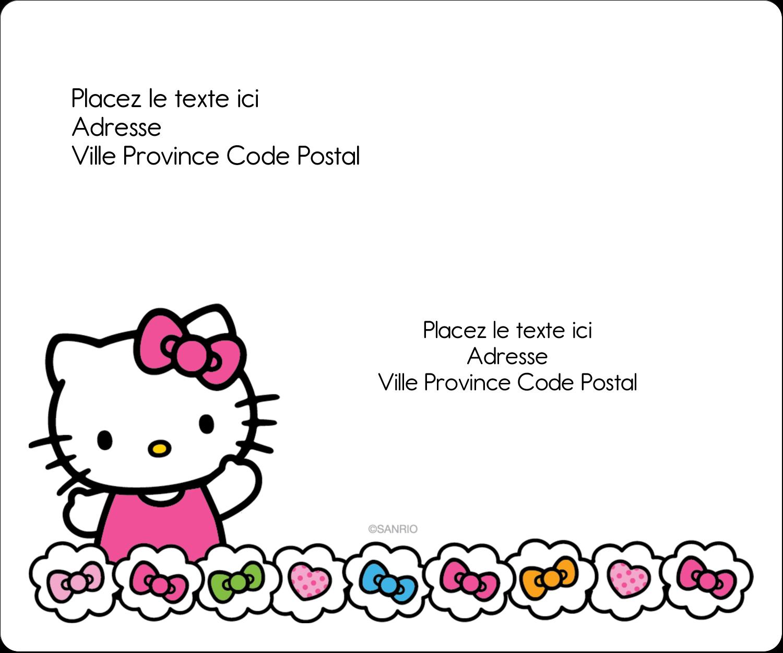 """½"""" x 1¾"""" Étiquettes D'Adresse - Hello Kitty Cœurs et Nœuds"""