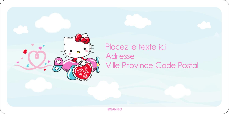 """3-7/16"""" x ⅔"""" Étiquettes de classement écologiques - Hello Kitty Saint-Valentin - Mon cœur monte pour vous"""