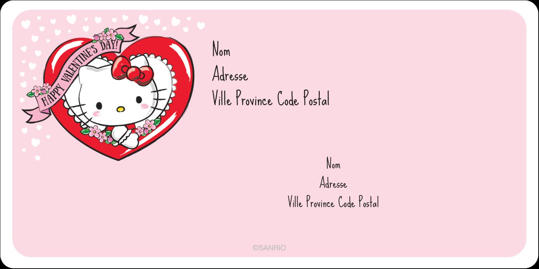 """3-7/16"""" x ⅔"""" Étiquettes de classement écologiques - Hello Kitty Saint-Valentin"""