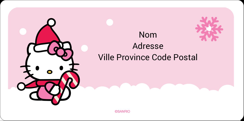 """3-7/16"""" x ⅔"""" Étiquettes de classement écologiques - Canne en bonbon de Noël Hello Kitty"""