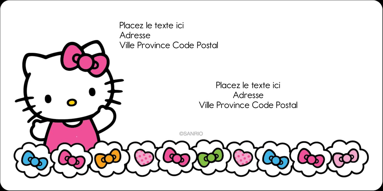 """3-7/16"""" x ⅔"""" Étiquettes de classement écologiques - Hello Kitty Cœurs et Nœuds"""