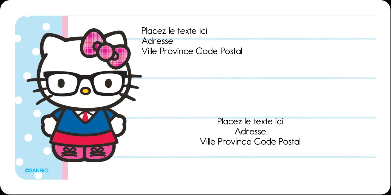 """3-7/16"""" x ⅔"""" Étiquettes de classement écologiques - Hello Kitty avec des lunettes"""
