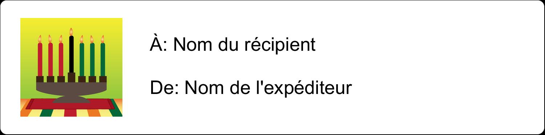 """1⅓"""" x 4"""" Étiquettes d'adresse - Lueur verte de Kwanzaa"""