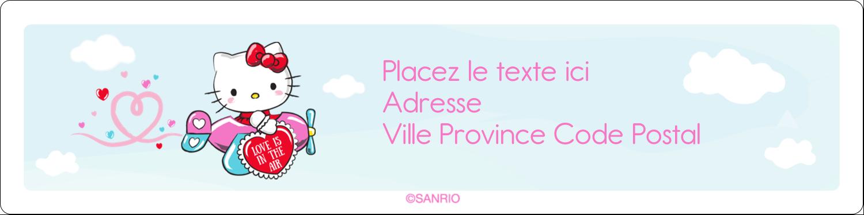 """1⅓"""" x 4"""" Étiquettes d'adresse - Hello Kitty Saint-Valentin - Mon cœur monte pour vous"""