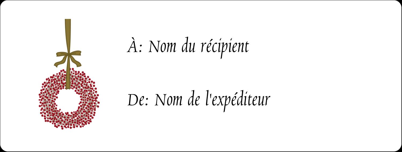 """1"""" x 2⅝"""" Étiquettes d'adresse - Couronnes de Noël"""