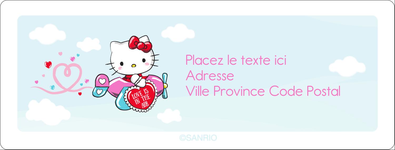"""1"""" x 2⅝"""" Étiquettes d'adresse - Hello Kitty Saint-Valentin - Mon cœur monte pour vous"""