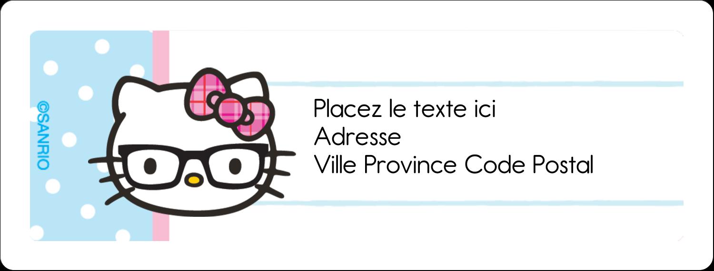 """1"""" x 2⅝"""" Étiquettes d'adresse - Hello Kitty avec des lunettes"""