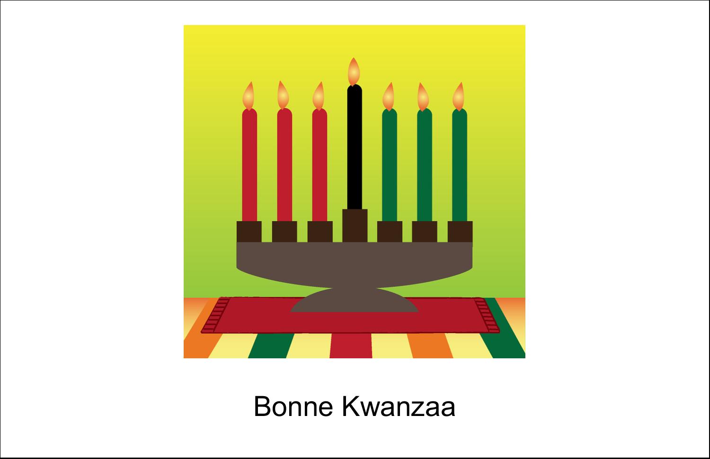 """5½"""" x 8½"""" Cartes de souhaits pliées en deux - Lueur verte de Kwanzaa"""