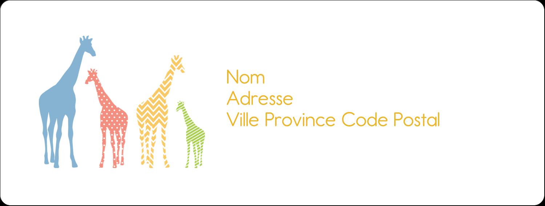 """1"""" x 4"""" Étiquettes d'adresse - Girafe en fête"""