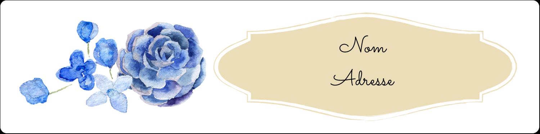 """1⅓"""" x 4"""" Étiquettes d'adresse - Bleu floral"""