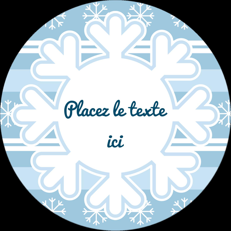 """2½"""" Diameter Étiquettes rondes - Les gabarits Flocon de neige bleu pour votre prochain projet des Fêtes"""