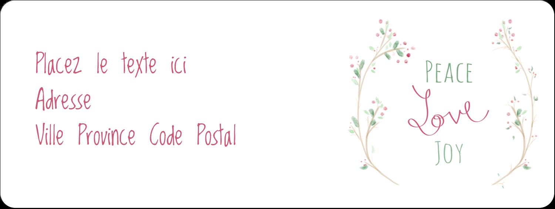 """1½"""" x 4"""" Étiquettes D'Adresse - Les gabarits Paix, amour et joie pour votre prochain projet créatif des Fêtes"""