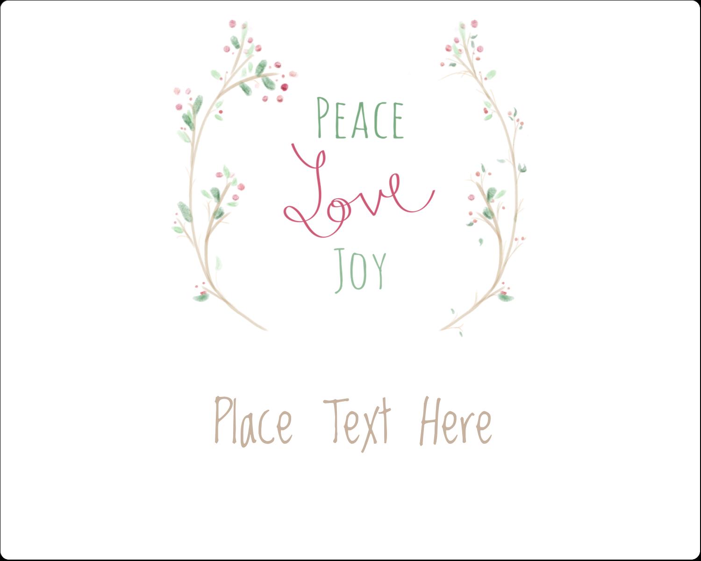 "3"" x 3¾"" Rectangular Label - Peace Love Joy"