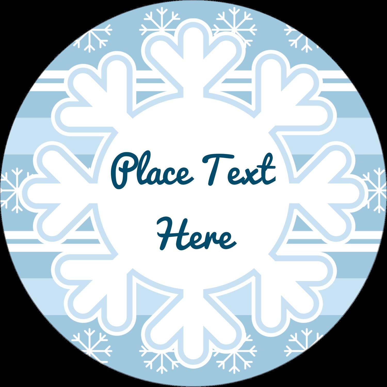 "2½"" Round Label - Blue Snowflake"