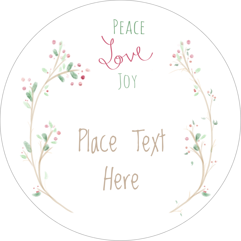 "2½"" Round Label - Peace Love Joy"