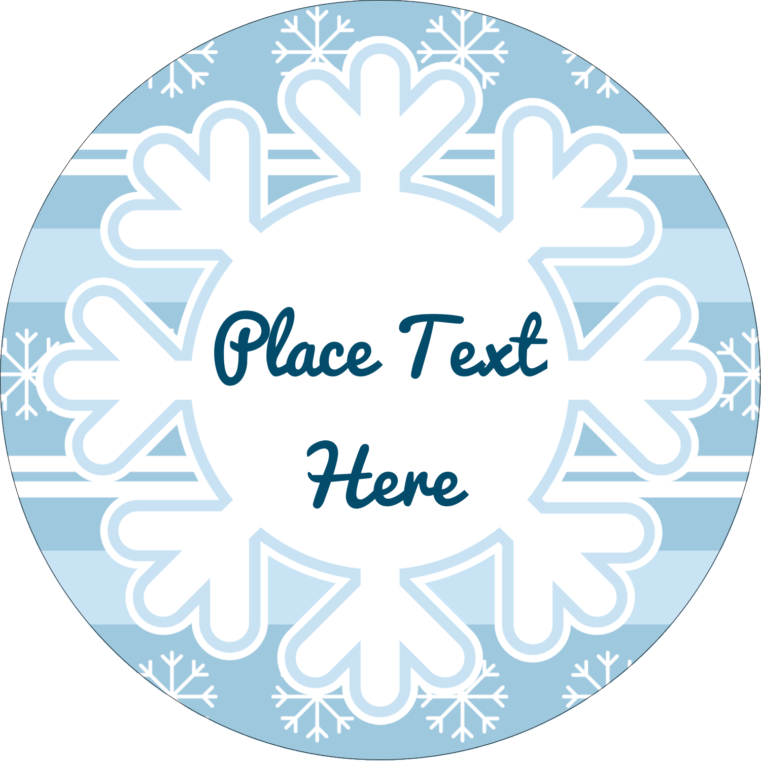 "2"" Round Label - Blue Snowflake"