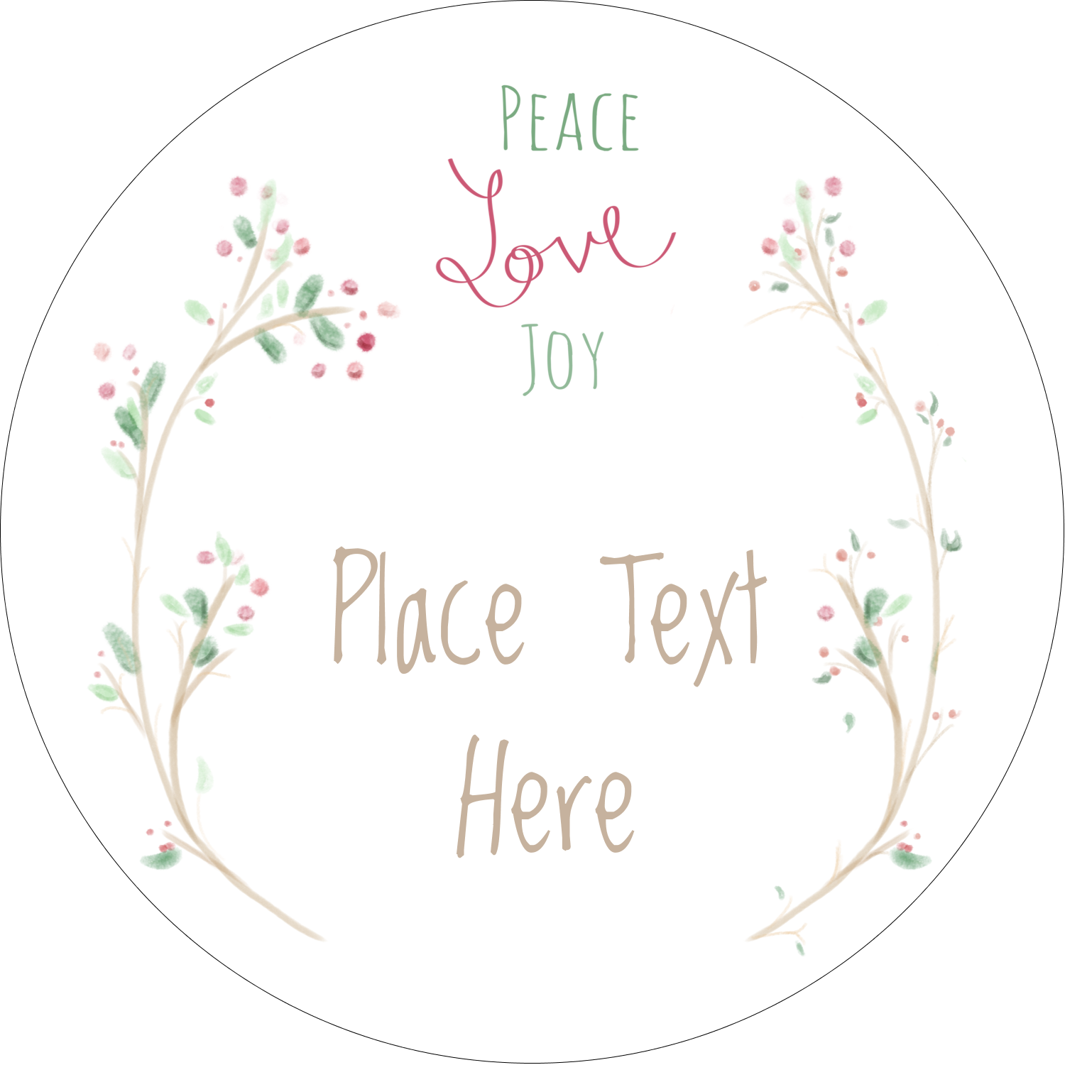 "2"" Round Label - Peace Love Joy"